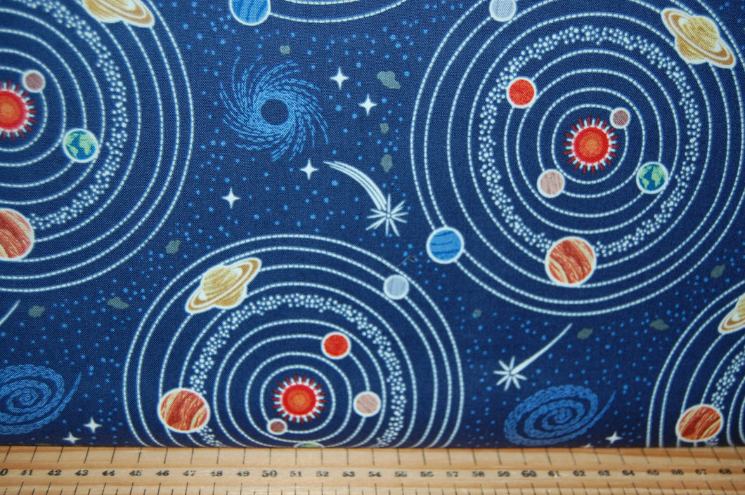 fabric shack sewing quilting sew fat quarter cotton quilt patchwork lewis & and irene light years glow in the dark space spaceship station stars planets constellations