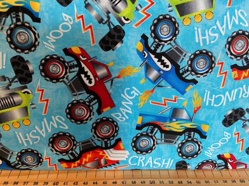 fabric shack sewing quilting sew fat quarter cotton quilt patchwork pattern wheel henry glass monster truck trucks flames wheels hotrods (3)