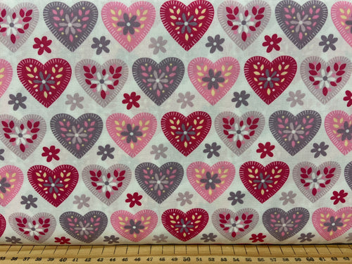 fabric shack sewing quilting sew fat quarter cotton quilt patchwork rose and & hubble love hearts applique white pink grey 2