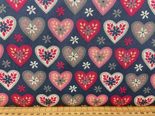 fabric shack sewing quilting sew fat quarter cotton quilt patchwork rose and & hubble love hearts applique white pink grey 3
