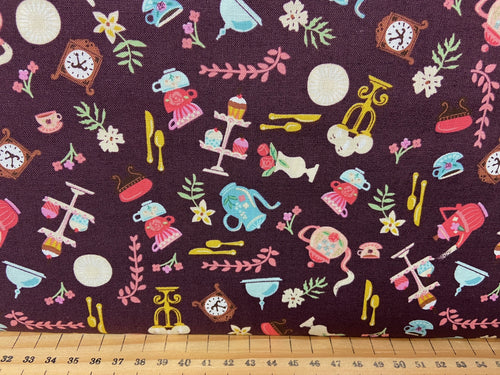 fabric shack sewing quilting sew fat quarter cotton quilt riley blake jill howarts beauty and & the best tea rose castle woodland ride horse allover tea purple