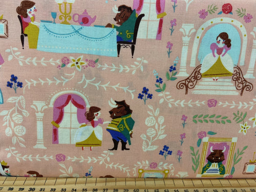 fabric shack sewing quilting sew fat quarter cotton quilt riley blake jill howarts beauty and & the best tea rose castle woodland ride horse time for tea pink