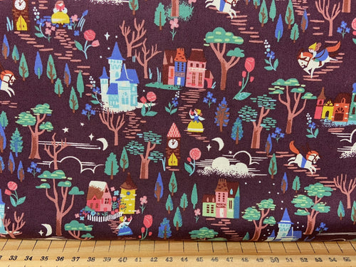 fabric shack sewing quilting sew fat quarter cotton quilt riley blake jill howarts beauty and & the best tea rose castle woodland ride horse woodland ride purple