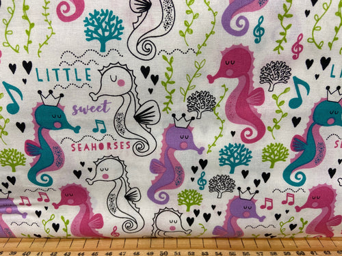 fabric shack sewing quilting sew fat quarter cotton quilt sweet little seahorses sea horses hearts pink black be more seahorse under the sea 3