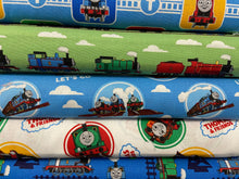 fabric shack sewing quilting sew fat quarter cotton quilt thomas the tank engine thomas and friends classic train rail railway choo choo percy badges white