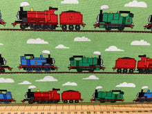 fabric shack sewing quilting sew fat quarter cotton quilt thomas the tank engine thomas and friends classic train rail railway choo choo percy train track green