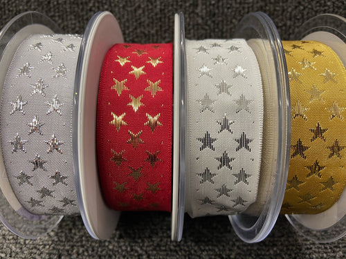 fabric shack sewing sew christmas crafts christmas trim galaxy stars 25mm gold  red silver white