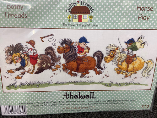 fabric shack sewing sew crosstich cross stitch kits kit bothy threads thelwell horse play
