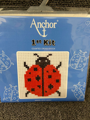 fabric shack sewing sew crosstich cross stitch kits kit first 1st childs kids ladybird lady bird 10016