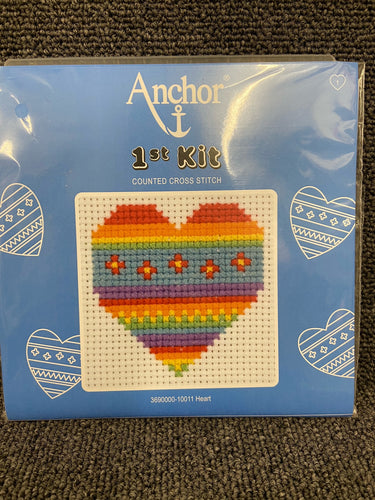 fabric shack sewing sew crosstitch cross stitch kits kit first 1st childs kids campervan heart 10011