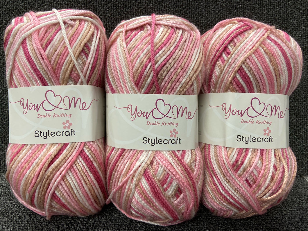 fabric shack yarn wool stylecraft you and & me double knit dk cashmere soft cotton fair isle self stripe sophia pink 3765