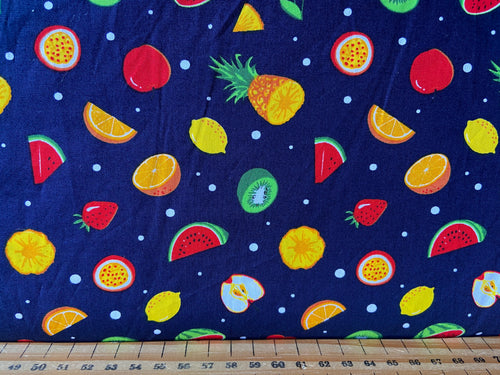 fabric shack sewing quilting sew fat quarter cotton patchwork quilt rose & and hubble tooti fruiti fruit apple pineapple melon passion fruit strawberry strawberries cherry cherries lemon orange white ivory navy blue