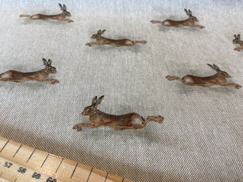 fabric shack sewing quilting sew cotton polyester linen look natural leaping hare rabbit bunny