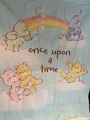 fabric shack sewing quilting sew fat quarter cotton patchwork quilt those characters from cleveland care bears carebears bedtime bear panel purple moon stars once upon a time (2)