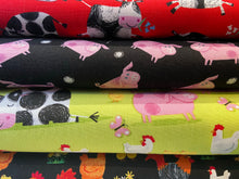 fabric shack sewing quilting sew fat quarter cotton patchwork quilt henry glass kate mawdesley best friends farm pigs cows sheep chickens red black green
