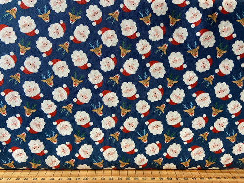 fabric shack sewing quilting sew fat quarter patchwork quilt abi hall moda jolly season father christmas santa skiing reindeer red blue