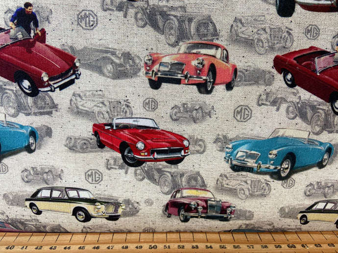 fabric shack sewing quilting sew fat quarter cotton quilt michael miller british motor car cars mg classic drive