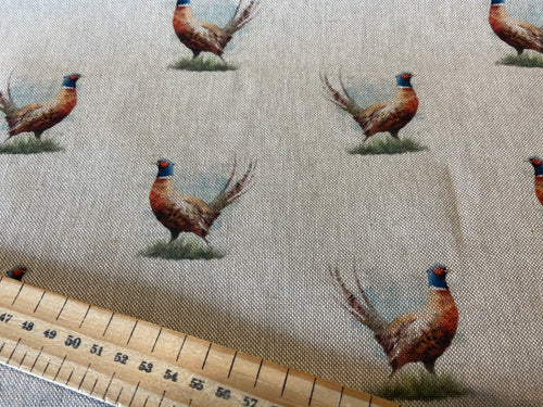 Pop Art Digital Linen Look Roaming Pheasants on Natural