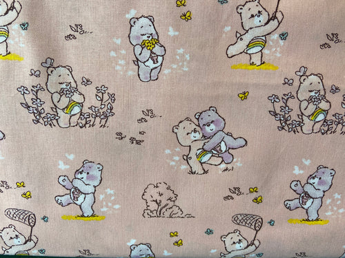 fabric shack sewing quilting sew fat quarter cotton patchwork quilt those characters from cleveland care bears carebears bedtime bear blue rainbow bears white cheer and share bears pink purple