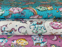 fabric shack sewing quilting sew fat quarter cotton patchwork quilt rose & and hubble castle in the clouds unicorn elephant rabbit fairy stars rainbow moon white