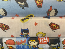 fabric shack sewing quilting sew fat quarter cotton patchwork quilt dc comics licenced super superhero superheroes hero heroes batman superman batgirl wonder woman supergirl