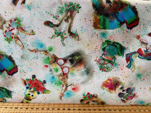 fabric shack sewing quilting sew fat quarter cotton quilt patchwork connie haley digital sassy animals holidays christmas presents gifts black animals sunglasses lights red white