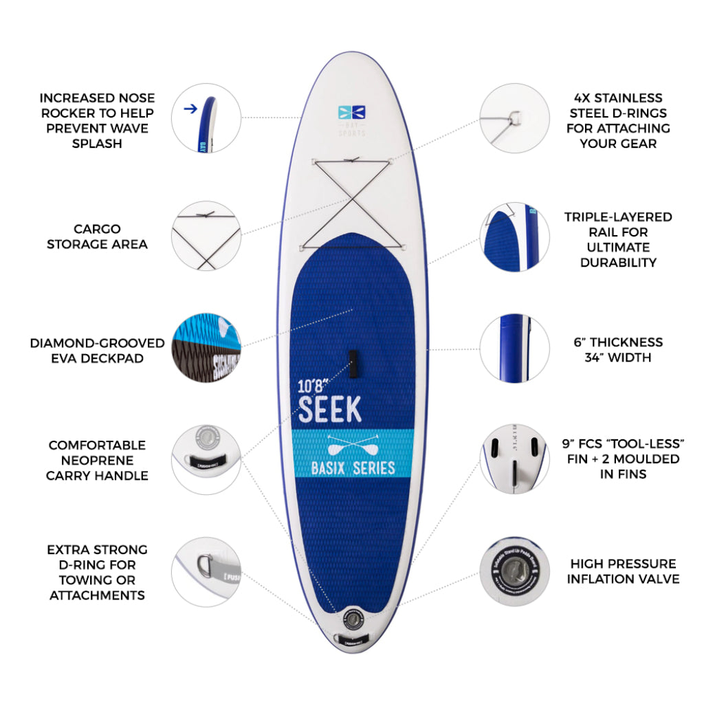 Bay Sports 10'8 Seek BasiX Inflatable Stand Up Paddle Board key features