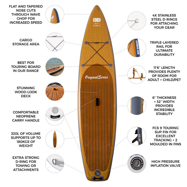 11'6 Wood Look Stand Up Paddle Board