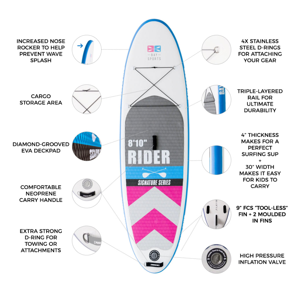 """Bay Sports 8'10"""" RIDER Inflatable Stand Up Paddle Board key features"""