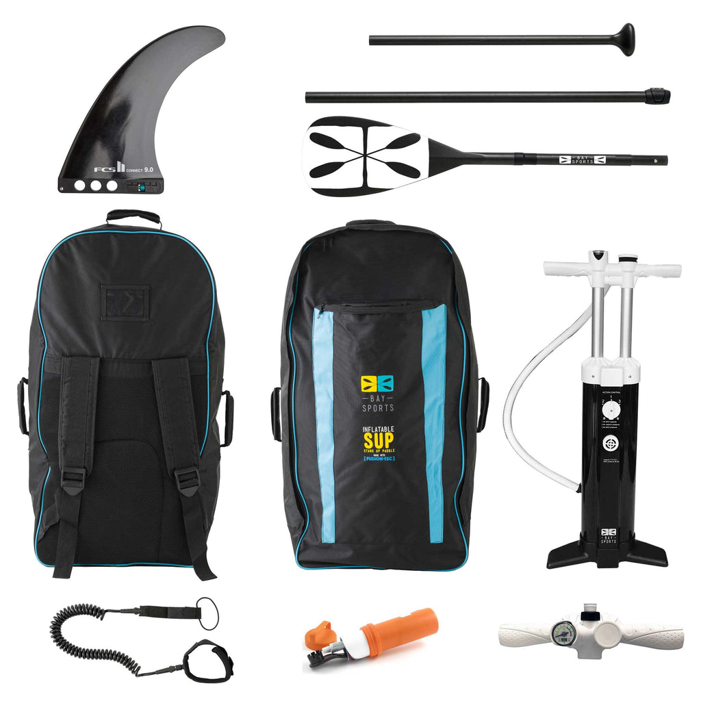 "Bay Sports iSUP Bag, Triple Action SUP Pump, 3-piece Fibreglass Paddle, Coil Leash, Repair Kit, 9"" FCS Connect II Fin"