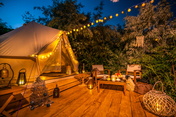 glamping on wooden deck
