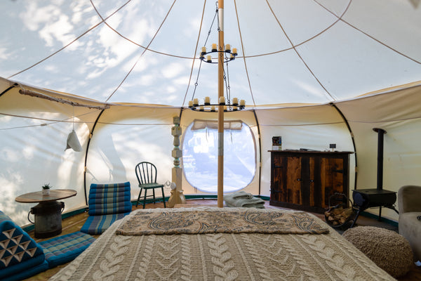 comfy interior for canvas bell tent