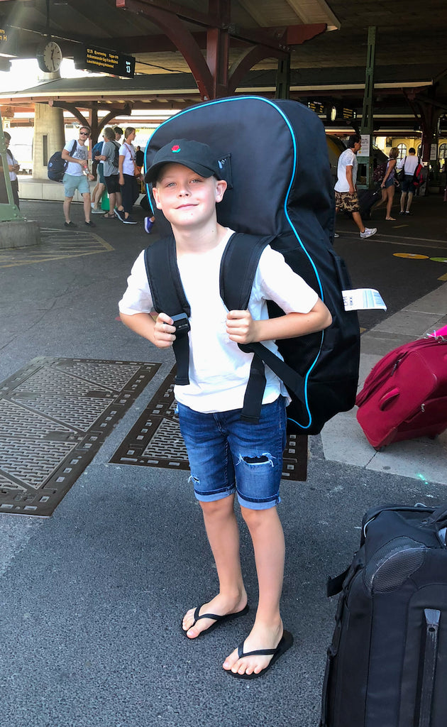 Child with Inflatable SUP Board backpack