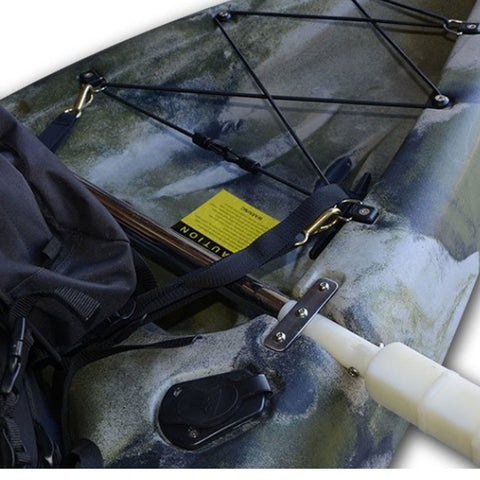 Metal plate to secure outrigger balance kit to kayak