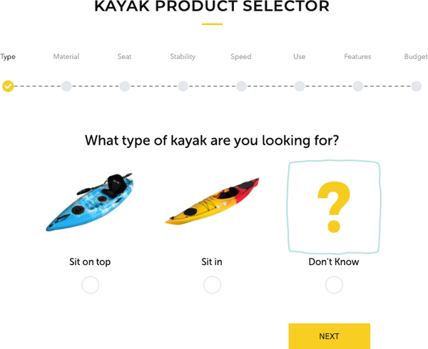 kayak product selector