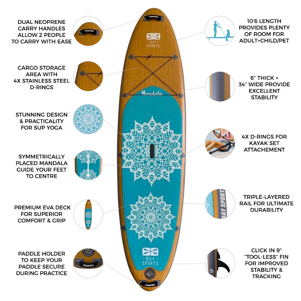 """10'6"""" Mandala Series - Inflatable Stand Up Paddle Board"""