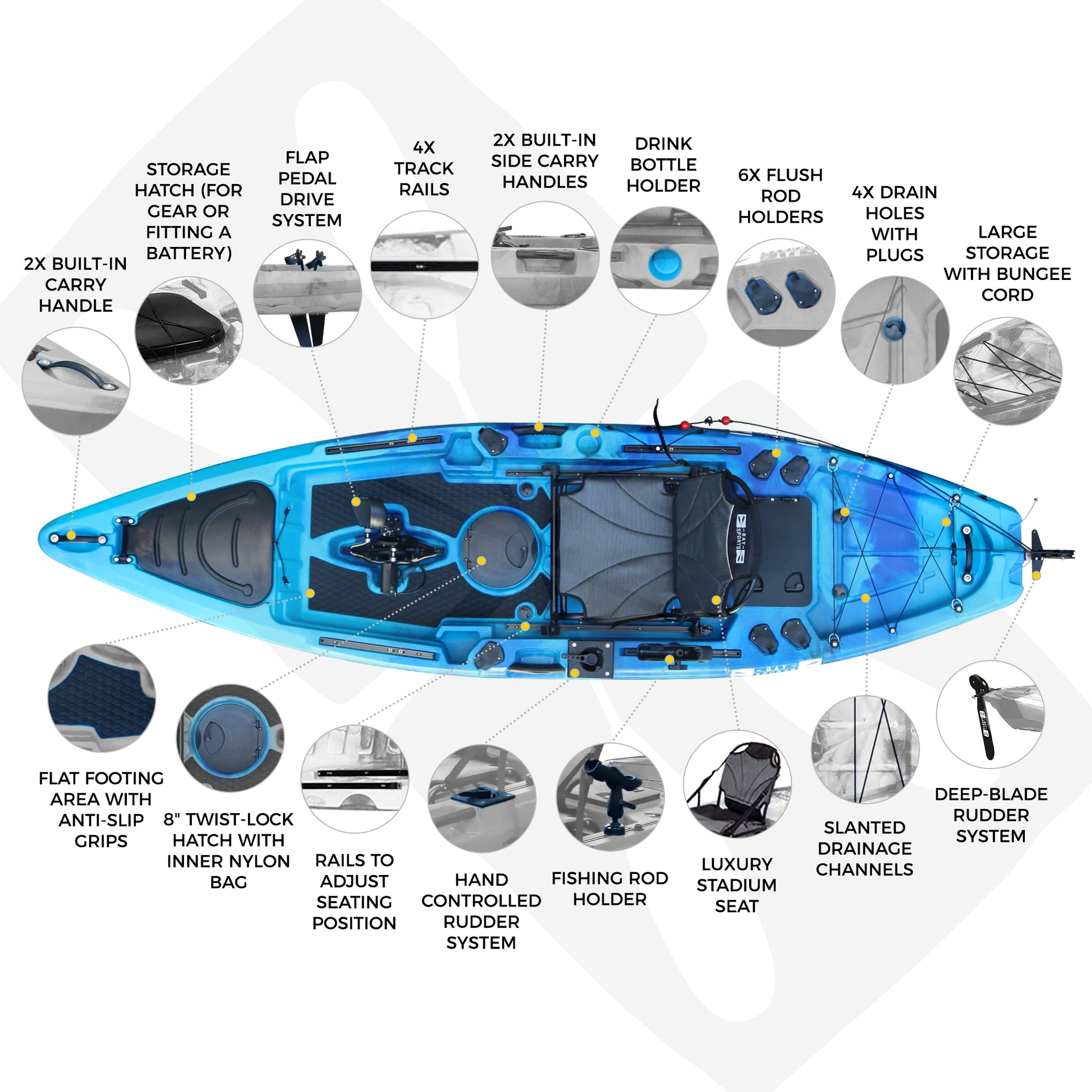 Pedal Pro Fish - 3.4m Flap-Powered Fishing Kayak