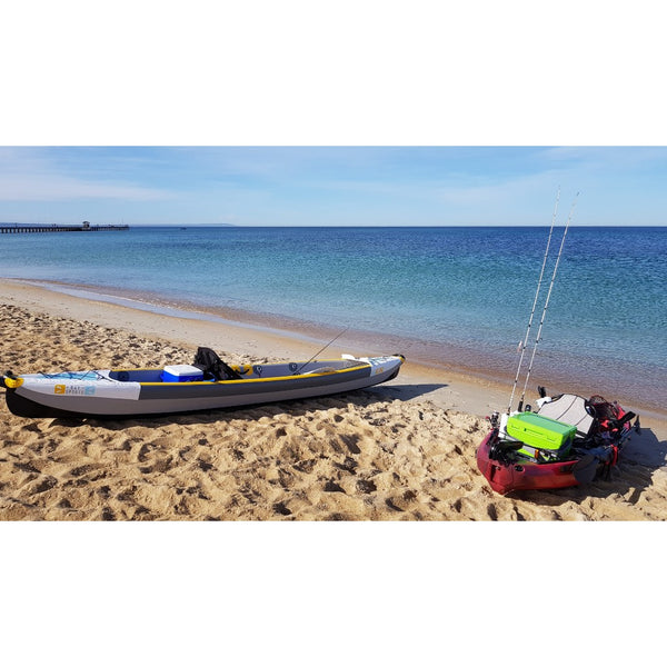 Bay Sports 100% Drop Stitch INflatable Air Glide 473  Kayak On beach