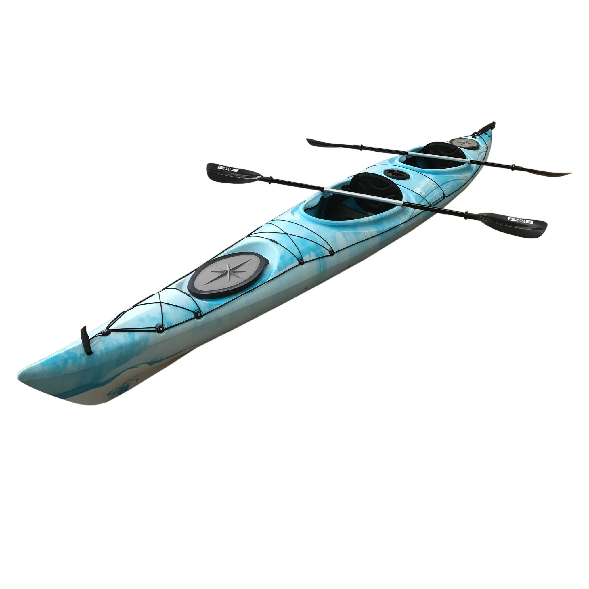Bay Sports Hug Sit In 2 Person Double Touring Sea Kayak White Blue Side Angle
