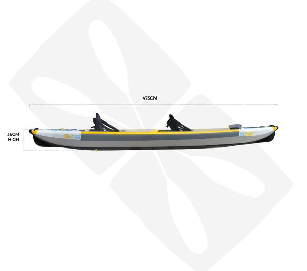 BAY SPORTS Air Glide 473 4.73m Drop Stitch Inflatable Kayak (side view)
