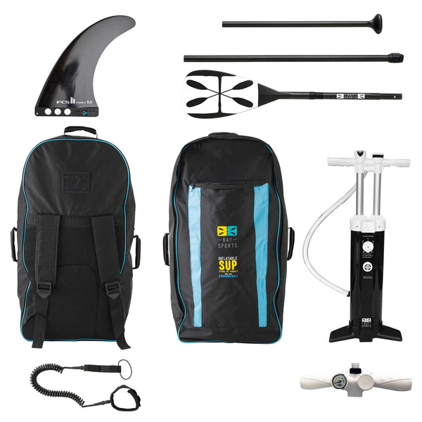 "Bay Sports iSUP Backpack, 9"" FCS Connect II Fin, 3 Piece Fibreglass Paddle, Triple Action Hand Pump and Coil Leash"