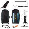 "Bay Sports iSUP Bag, Triple Action SUP Pump, 3-piece Fibreglass Paddle, Coil Leash, Repair Kit, 9"" FCS SUP Touring Fin"