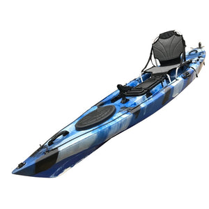 Angler Pro 4m Sit on Top Fishing Kayak Blue White Black with Stadium Seat