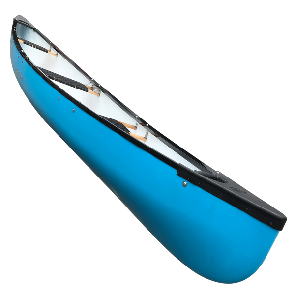 Escapade 400 - 4.86m 4-Person Canoe blue side view