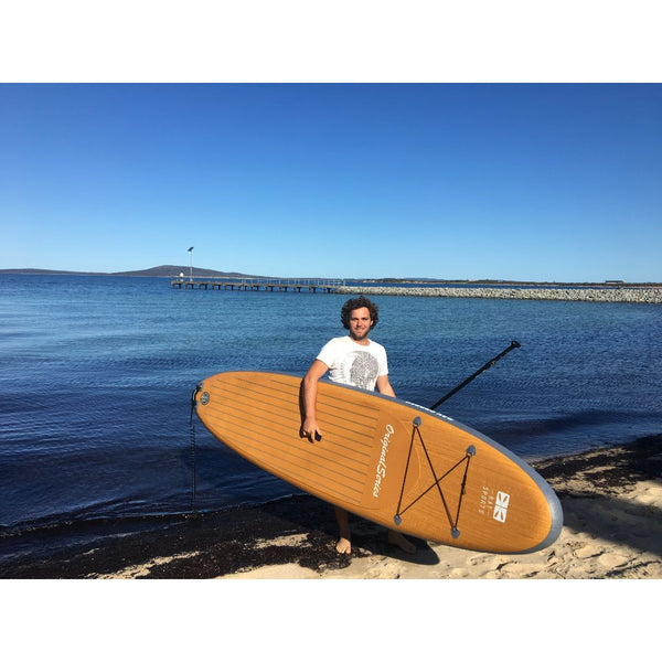 Inflatable Wood Look Stand Up paddle board on Beach Bay Sports