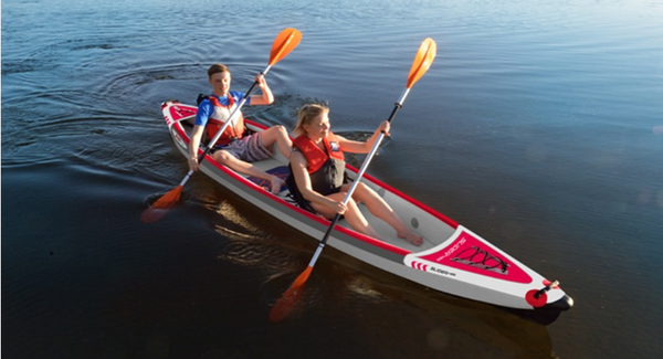 KXone Slider 485 Drop Stitch Superlite Inflatable Collapsible Double 2 Person Kayak on water