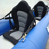 two Deluxe Kayak comfort seat on a double kayak blue and black