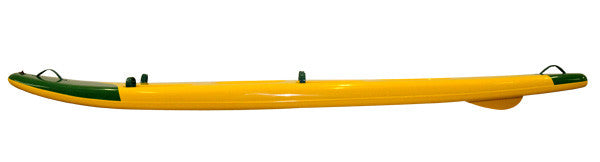 side view of a Leisure Double Ski green and yellow