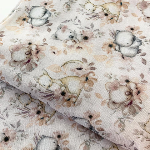 Peach Floral Australian Animals Muslin Wrap