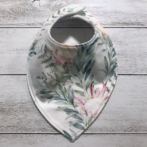 Watercolour Protea Bandana Bib